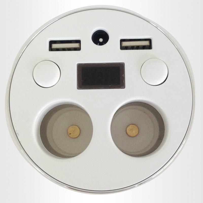 2 in 1 dual USB + ciggrett socket gold cup car charger 3