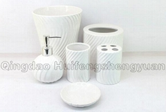 set of 6 pigmented ceramic bathroom collection