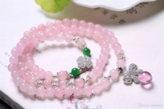 2016 NEFFLY Pink Madagascar Powder Crystal 6mm European Asian Style Beaded Stran
