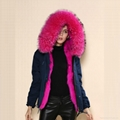 2016 women fashion fur coat with real fur collar and faux fur lining 2