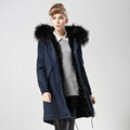 2016 women fashion fur coat with real fur collar and faux fur lining 5
