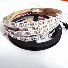 WS2812B 5050灯珠内置IC 5v 60灯每米 RGB led全彩灯条黑/白板不防水