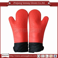 SeeWay F200 Silicone Waterproof Heat Resistant Oven Gloves Long Cotton Lining