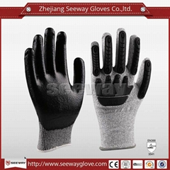 SeeWay B509 HDPE Cut resistant TPR back impact work gloves Nitrile coated palm