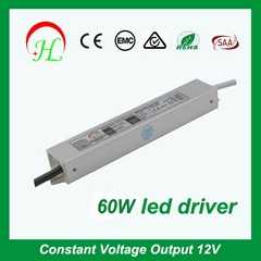 60W IP67 waterproof slim type LED driver power supply