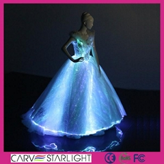 The light up glowing luminous LED optic fiber ball gown evening dress