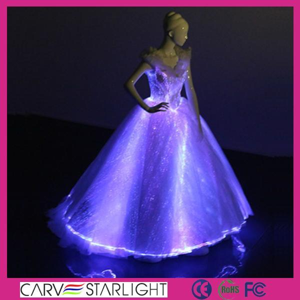The Light Up Glowing Luminous Led Optic Fiber Ball Gown Evening Dress Yq 101 Carve Starlight China Manufacturer Silk Garment