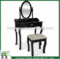 Black high gloss exquisite solid wood dresser with mirror