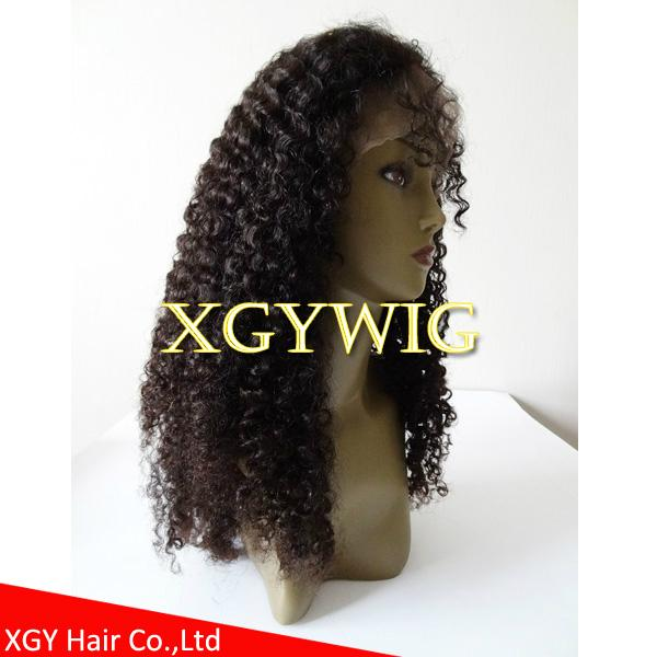 Stock 100% virgin unprocessed human hair kinky curly lace wigs for black women 3