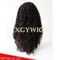 Stock 100% virgin unprocessed human hair kinky curly lace wigs for black women
