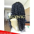 """Stock 8""""-24"""" cheap Indian Remy Human Hair Deep Curly glueless lace front wigs 4"""