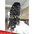Stock 100% virgin unprocessed Peruvian Hair Natural Deep Body Wave Full Lace Wig 4