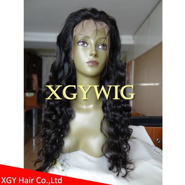 Stock 100% virgin unprocessed Peruvian Hair Natural Deep Body Wave Full Lace Wig 2