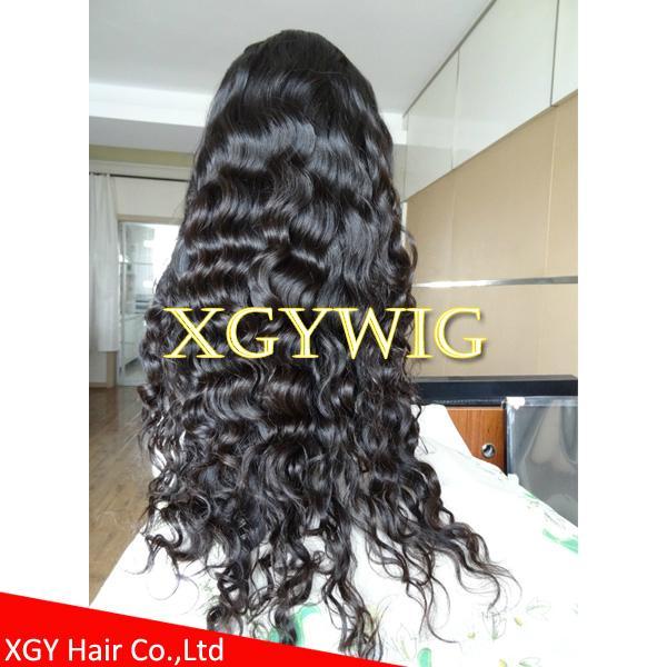 Stock 100% virgin unprocessed Peruvian Hair Natural Deep Body Wave Full Lace Wig 5