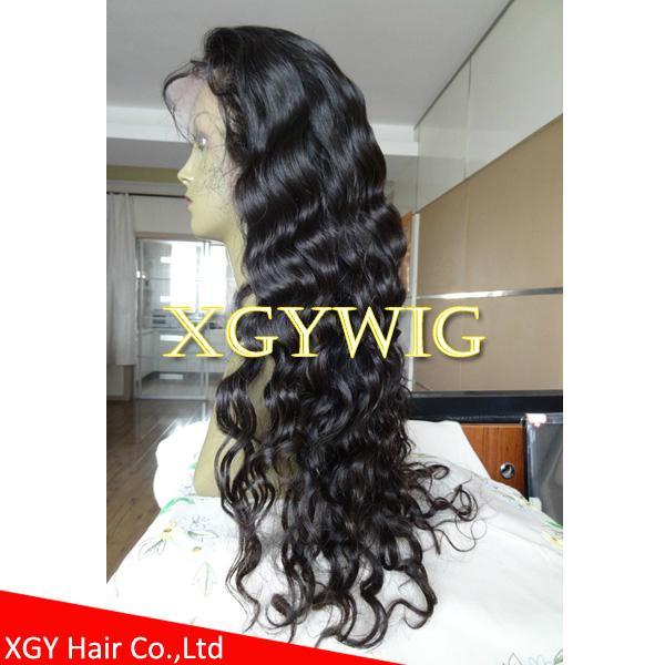 Stock 100% virgin unprocessed Peruvian Hair Natural Deep Body Wave Full Lace Wig 3