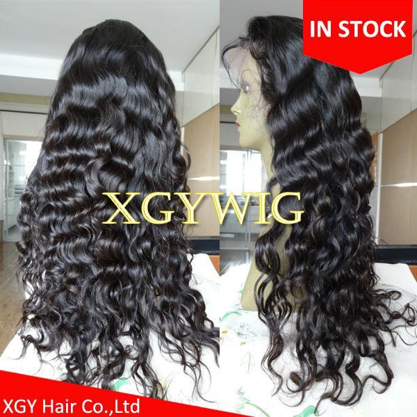 Stock 100% virgin unprocessed Peruvian Hair Natural Deep Body Wave Full Lace Wig 1