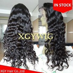 Stock 100% virgin unprocessed Peruvian Hair Natural Deep Body Wave Full Lace Wig