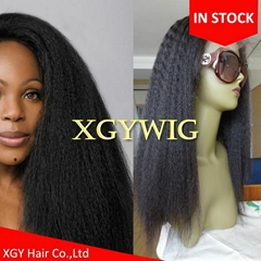 Stock 100% virgin Remy Human Hair African American Kinky Straight lace front wig