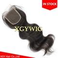 "Stock 10""-20"" 100% virgin unprocessed Brazilian Human Hair 4""x4"" lace closures 1"