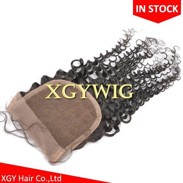 "Stock 10""-20"" 100% virgin unprocessed Brazilian Human Hair 4""x4"" lace closures 3"