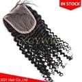 "Stock 10""-20"" 100% virgin unprocessed Brazilian Human Hair 4""x4"" lace closures"