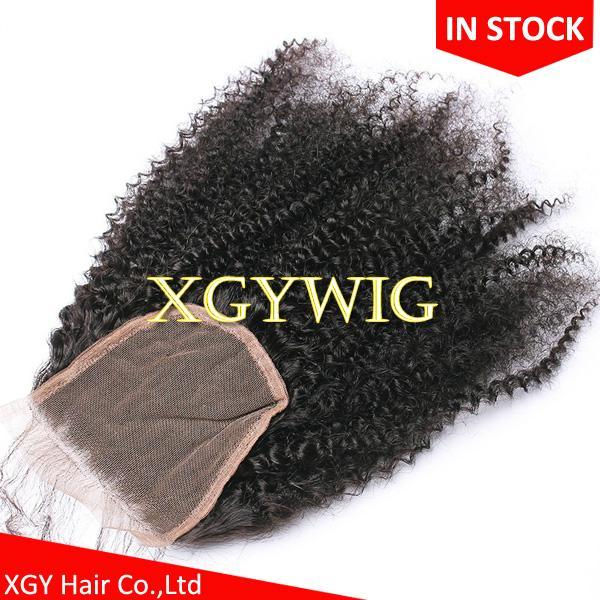 "Stock 10""-20"" 100% virgin unprocessed Brazilian Human Hair 4""x4"" lace closures 5"
