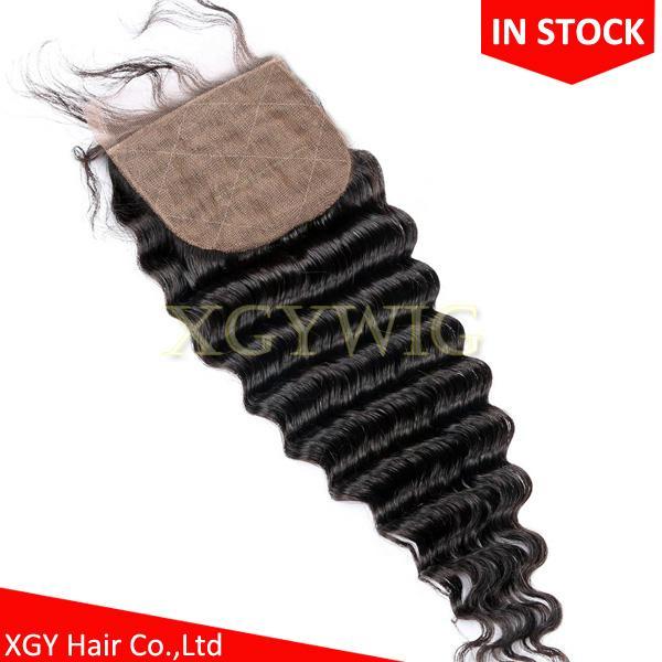 "Stock 100% virgin unprocessed Human Hair 4""x4"" silk base lace closures 1"
