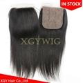 "Stock 100% virgin unprocessed Human Hair 4""x4"" silk base lace closures 3"