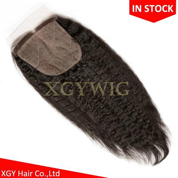 "Stock 100% virgin unprocessed Human Hair 4""x4"" silk base lace closures 4"