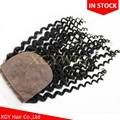 "Stock 100% virgin unprocessed Human Hair 4""x4"" silk base lace closures 2"
