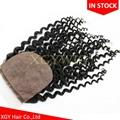 "Stock 100% virgin unprocessed Human Hair 4""x4"" silk base lace closures"