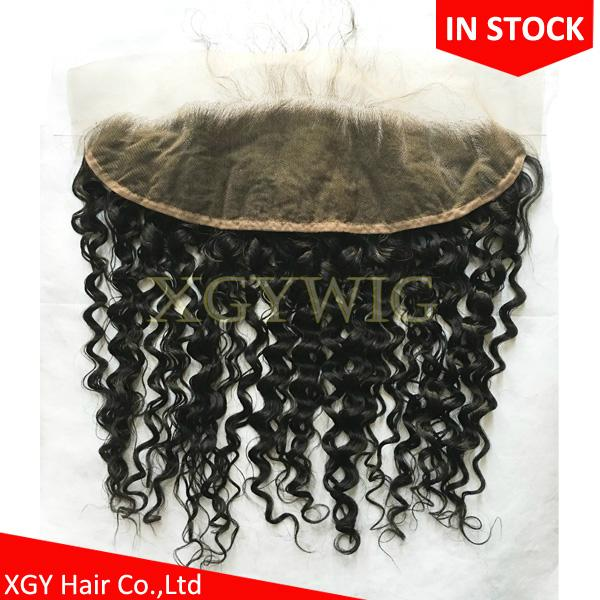 """Stock 100% virgin unprocessed Human Hair 13""""x4"""" free parting lace fontals"""