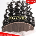 "Stock 100% virgin unprocessed Human Hair 13""x4"" free parting lace fontals"