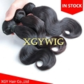 Stock cheap wholesale 100% virgin Remy human hair body wave extension weaving 3