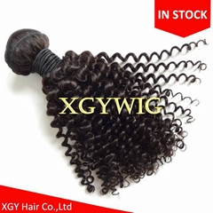 Stock cheap short kinky curly virgin remy human hair wefts for black women