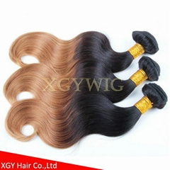 Wholesale 100% virgin Remy Human Hair Ombre Two tone color weaving extensions