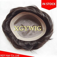 "Cheap Stock 8""x10""/7""x9""/6""x8"" 100% Indian Remy Human Hair Mono toupees for men"