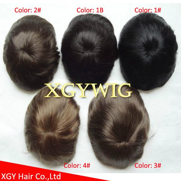 "Cheap Stock 8""x10""/7""x9""/6""x8"" 100% Indian Remy Human Hair Mono toupees for men 3"