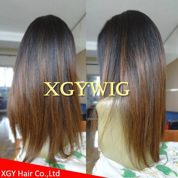 Wholesale virgin Remy Human Hair Ombre Two tone color silk top full lace wigs 2