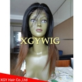 Wholesale virgin Remy Human Hair Ombre Two tone color silk top full lace wigs 3
