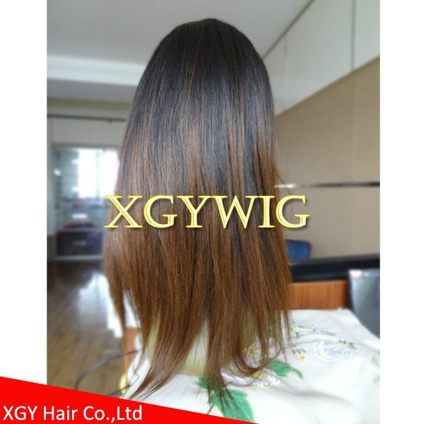 Wholesale Virgin Remy Human Hair Ombre Two Tone Color Silk Top Full Lace Wigs Xgy1008 Xgy