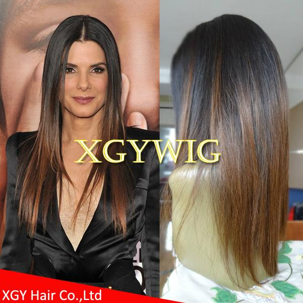 Wholesale virgin Remy Human Hair Ombre Two tone color silk top full lace wigs 1