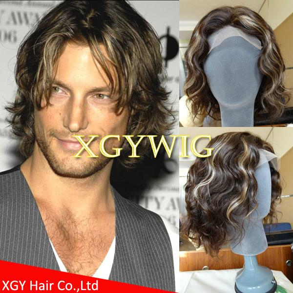Wholesale 100% Indian virgin remy human hair celebrity full lace wig for men 1