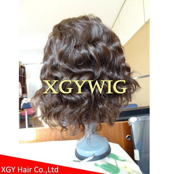 Wholesale 100% Indian virgin remy human hair celebrity full lace wig for men 5