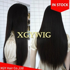 Stock 100% virgin unprocessed Brazilian Hair silky straight full lace wigs