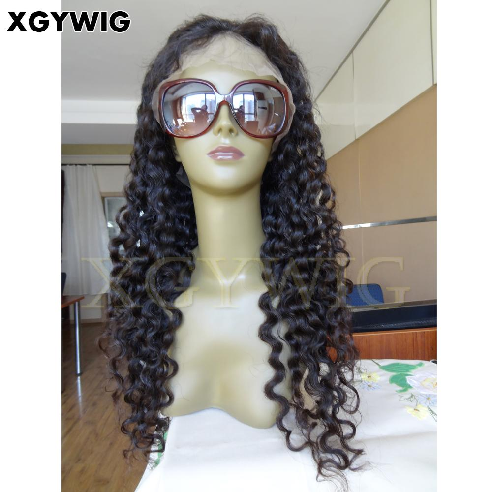 Stock 100% Virgin unprocessed Brazilian hair deep wave glueless lace front wigs 2