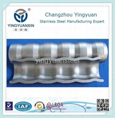 Horizontal stripes corrugated tube for heat transfer