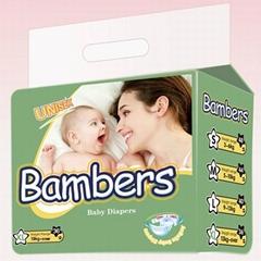 Full Surround Elastic Waist Baby Diaper PE Backsheet and PP Tape Baby Diaper
