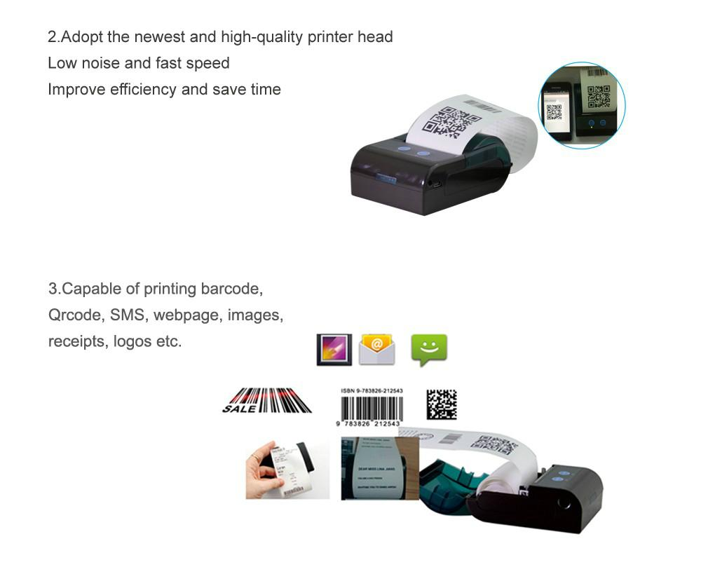 ZKC 58mm mini Portable Bluetooth Thermal Barcode Printer Machine 4