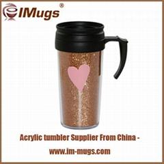 Plastic mugs with handles